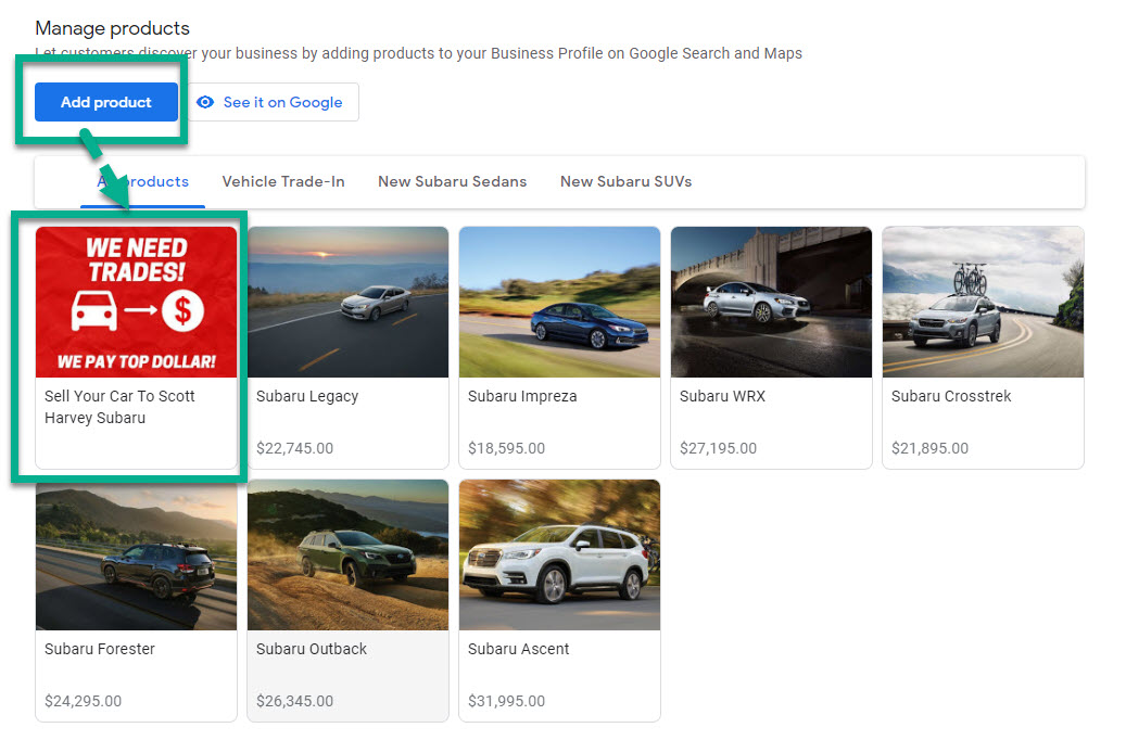 Add Buy Your Car Link as a GMB Product Example