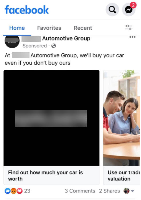 Social media ad example of a buyback campaign.