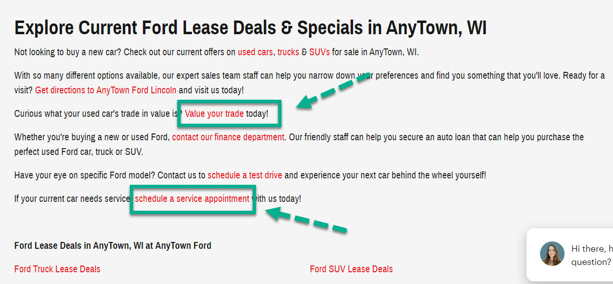 Example of schedule service & trade-in pages being internally linked on a dealer's new inventory page.