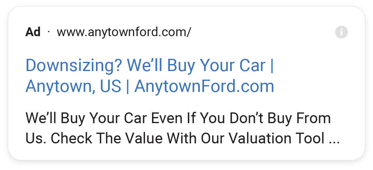 PPC Ad example of a buyback campaign.